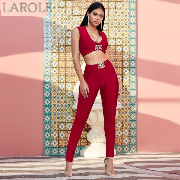 Wine Red Two Pieces Sets V Neck Sleeveless Crop Top & Pants