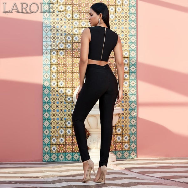 Black Two Pieces Sets V Neck Sleeveless Crop Top & Pants