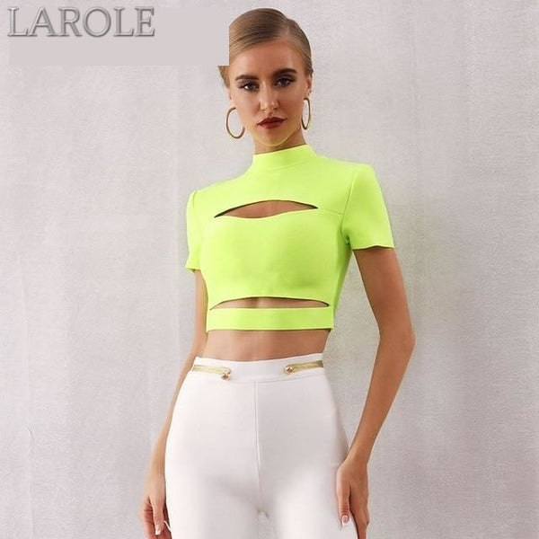 Hollow Out Short Sleeve Crop Top