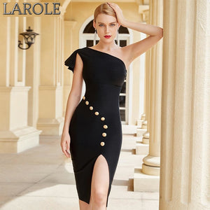 One Shoulder Sleeveless Midi Little  Black Party Dress