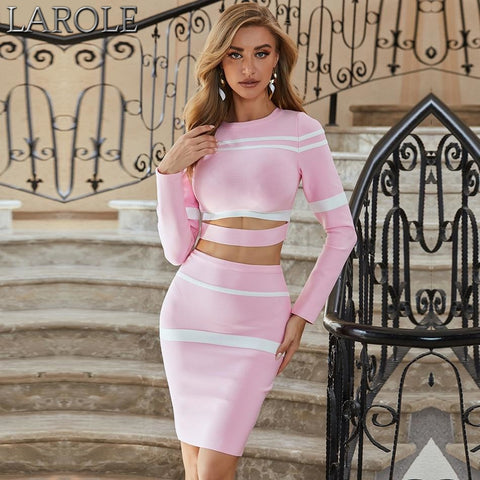 Light Pink  2 Two Pieces Striped Hollow Out Top & Skirt  Set
