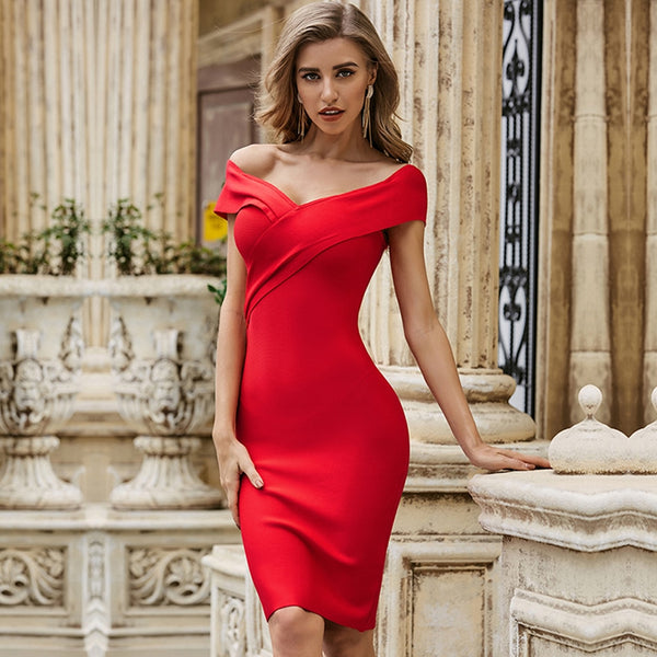 V-Neck Short Sleeve Red Bodycon Cocktail Dress