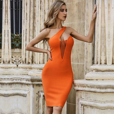 Orange  One Shoulder Mesh Contrast Midi Party Dress