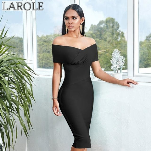 Black Off Shoulder Short Sleeves Midi Bodycon Bandage Dress