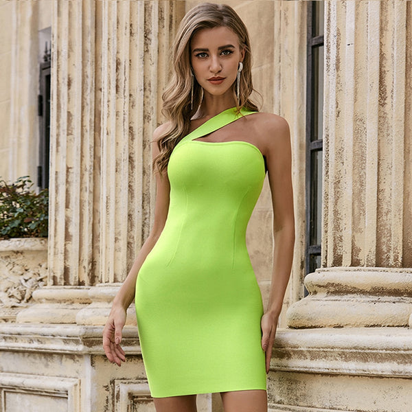 One Shoulder Light Green Mini Party Bodycon Dress