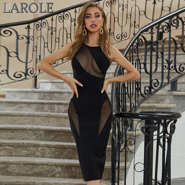 Black See through Lace  Hollow Out Backless Celebrity Party Dress