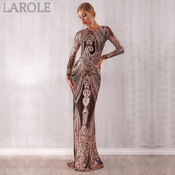 Elegant Sequined Long Sleeve Maxi Evening Party Dress