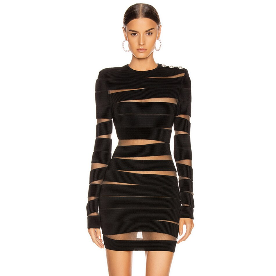 Adyce 2019 New Autumn Black Lace Bandage Dress Women Sexy Long Sleeve Hollow Out Club Mini Celebrity Evening Runway Party Dress