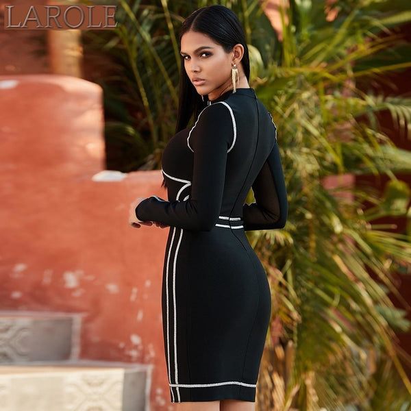 Black Long Sleeve  Evening Party Dress
