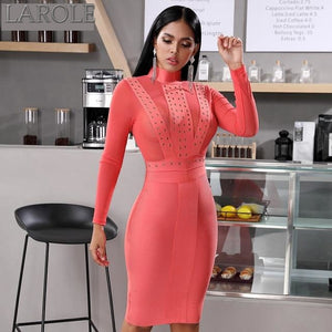 Red  Mesh Insert Long Sleeve Party Midi  Dress