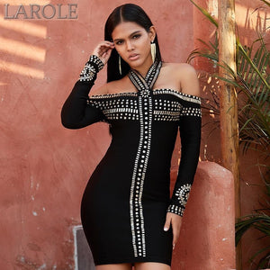 Black Luxury Diamond Off Shoulder Mini Celebrity Party Dress