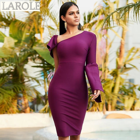 One Shoulder Long Sleeve Violet Midi Cocktail Dress