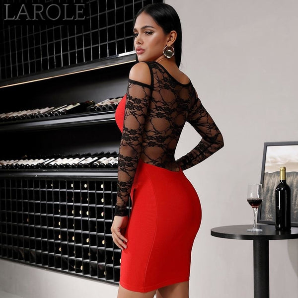Red Lace Contrast  Long Sleeve Evening Party Dress