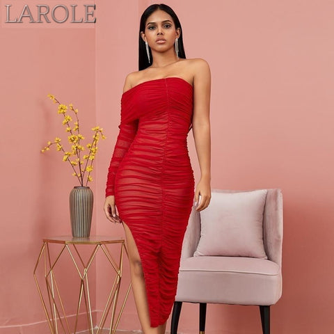 Red Off Shoulder One Long Sleeve Midi  Party Dress