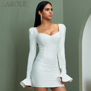Flare Long Sleeve White Mini  Party Dress