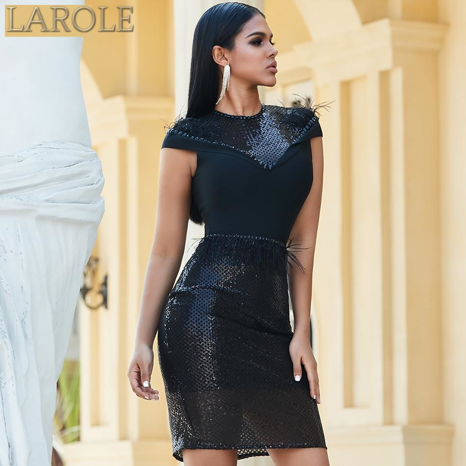 Black Short Sleeve Sequined Bodycon Celebrity Dresses