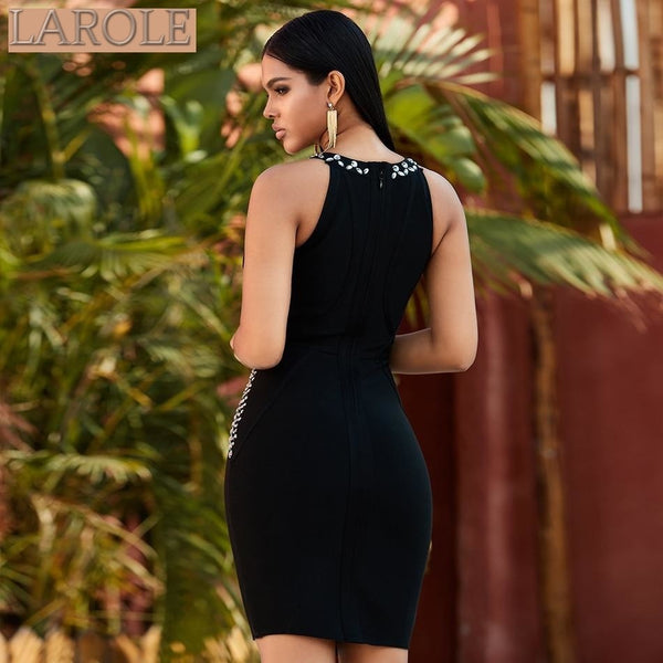 Luxury Diamond Sleeveless  Black Celebrity Evening Party Dress