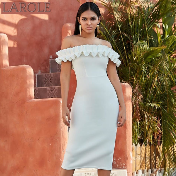Off Shoulder Ruffles Midi White  Dress
