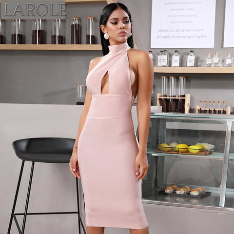 Light  Pink Hollow Out Halter  Midi Dress