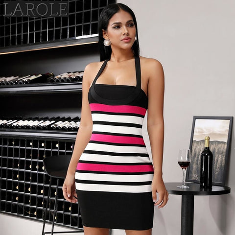 Halter Backless Striped Mini  Dress