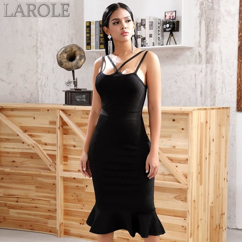 Black Spaghetti  Strap Mermaid Midi Bandage Dress