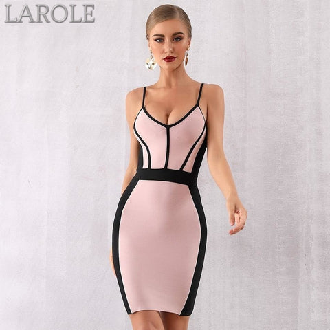 Pink Black Contrast Spaghetti Strap V Neck Party Dress