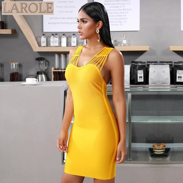 Yellow Sleeveless  Criss Cross Back Bandage Dress