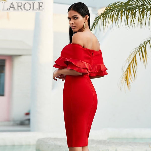 Off Shoulder Ruffles Bodycon Red Midi Dress
