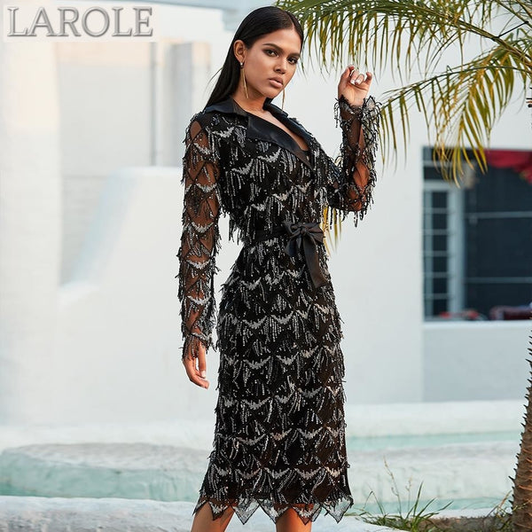 Long Sleeve Sequined V Neck Black Trench Dress