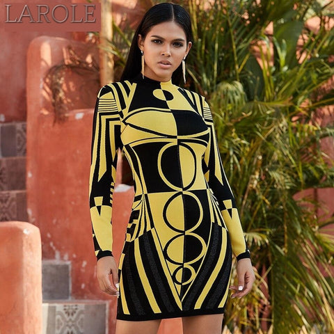 Yellow Long Sleeve  O Neck Party Bandage Dress