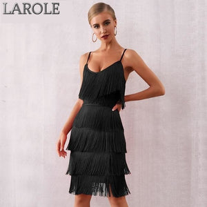 Spaghetti Strap V Neck Tassels Fringe Black Midi Dress