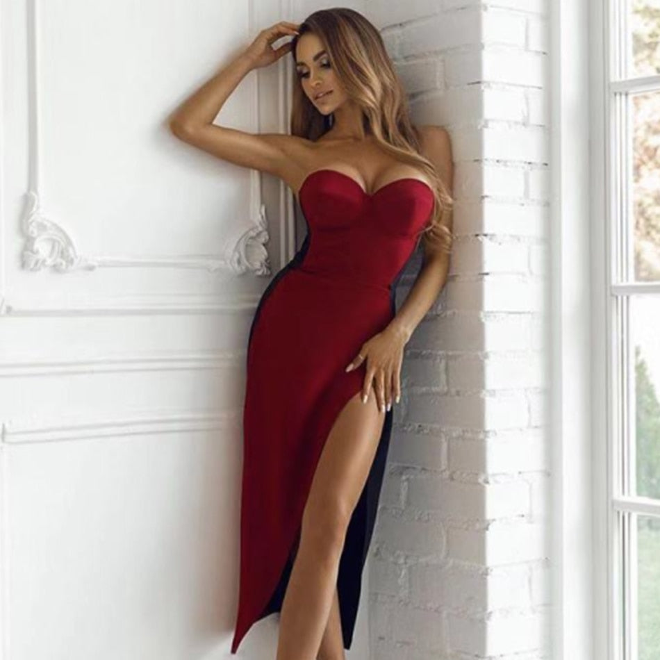 Strapless Wine Red Long Slit Evening Bustier Midi Dress