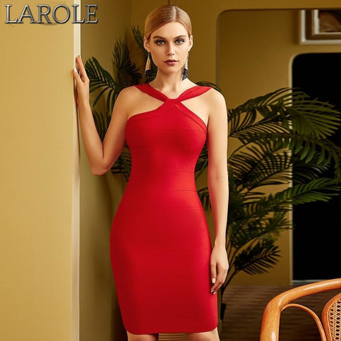 Red Crossed Neckline Strapless Evening Party Dresses
