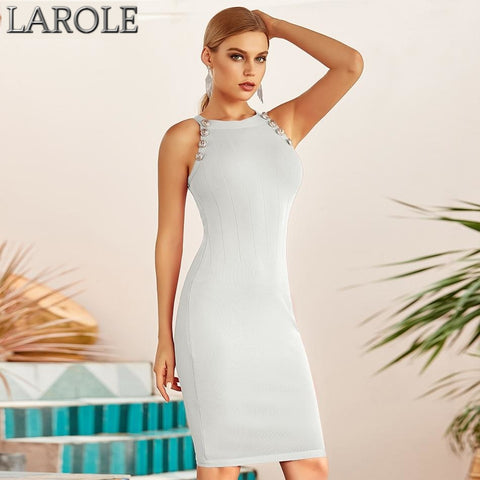 White Sleeveless Halter Evening Bodycon Dress