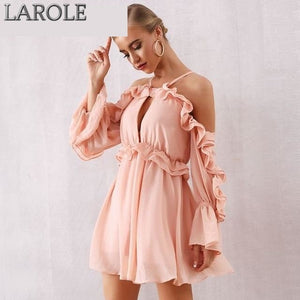 Pink Off Shoulder Ruffles Long Sleeves Mini Dress