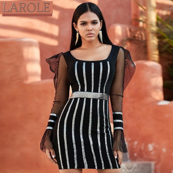 Black Long Sleeve Striped Ruffles Sequined  Dress