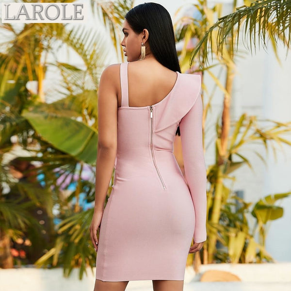 Light Pink One Shoulder Long Sleeve  Bodycon Dress