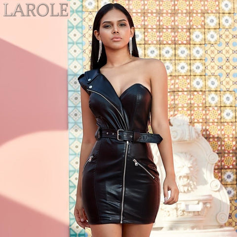 Black Leather One Shoulder Party Dress