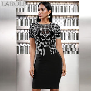 Short Sleeve  Black Checkered Dress