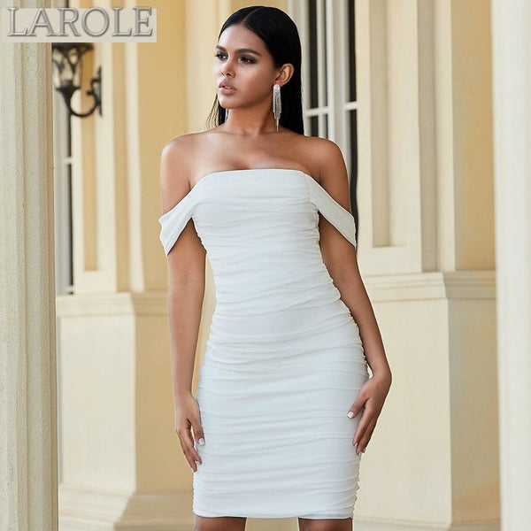 Short Sleeve White Draped Party Dress