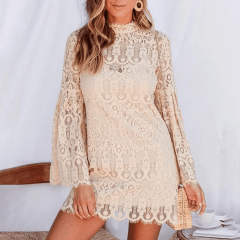 Lace Embroidery  Elegant Flare Sleeves Short Dress