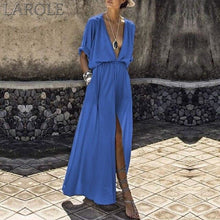 Load image into Gallery viewer, Summer Women Loose Pockets Maxi Dress Bohemian Sexy Deep V-Neck Long Dress Casual Short Batwing Sleeve Split Dresses