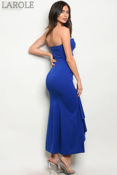 Larole  Sleeveless sweetheart neckline ruffled blue maxi cocktail dress