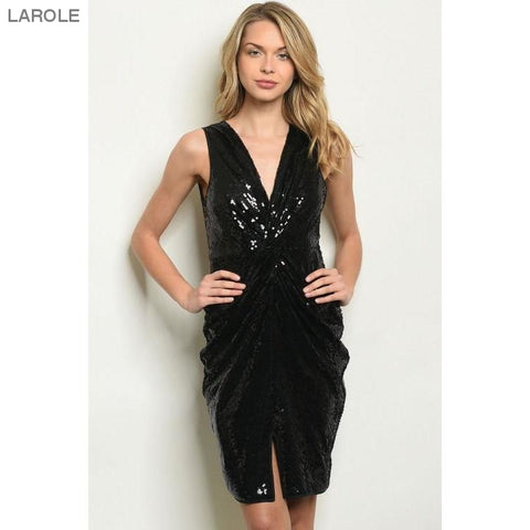 LAROLE| CHIC LITTLE BLACK DRESS WITH  SEQUINS AND FRONT SLIT