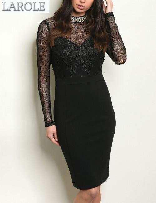Little back dress  with long sleeve for special occasion -Larole