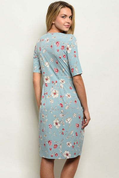Larole Short sleeve off the shoulder blue floral midi dress