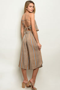 Larole Sleeveless backless stripped cut out jumpsuit.