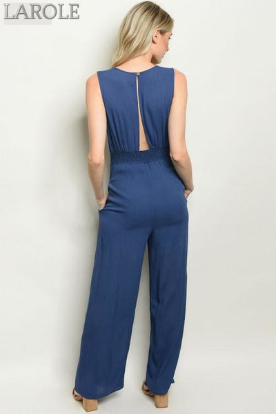 Larole Sleeveless V-neck button detail  blue jumpsuit.