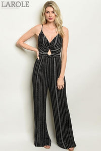 Larole Sleeveless V-neck cut out detail black striped jumpsuit