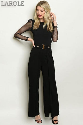 Larole  Fitted waist belted black pants